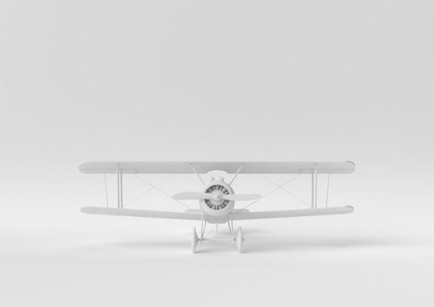 Idée de papier minimal créatif. avion concept blanc avec un fond blanc. rendu 3d, illustration 3d. Photo Premium