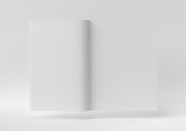 Idée de papier minimal créatif. livre blanc concept avec un fond blanc. rendu 3d, illustration 3d. Photo Premium