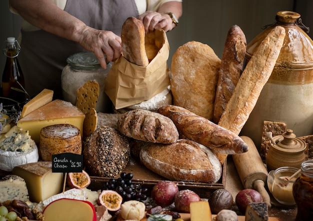 Idée de recette de photographie de nourriture de pain au levain fait maison Photo Premium