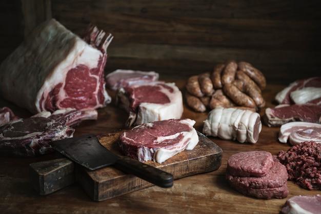 Idée de recette pour différents types de viande Photo Premium