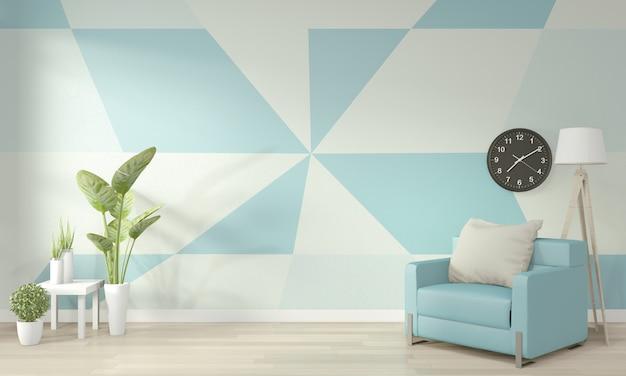 Idées de salon bleu et blanc clair wall art géométrique peinture couleur design plein style sur plancher en bois Photo Premium