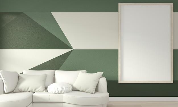 Idées de vie chambre verte mur géométrique art peinture design couleur plein style sur plancher en bois Photo Premium