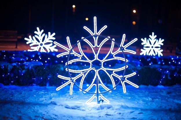 Illuminations De Noël Sous Forme De Flocons De Neige Dans Le Parc De Nuit Photo Premium