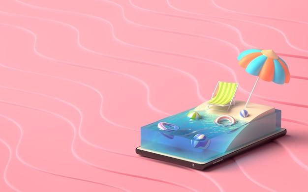 Illustrateur 3d Du Concept Summer Beach Sur Un Smartphone. Photo Premium