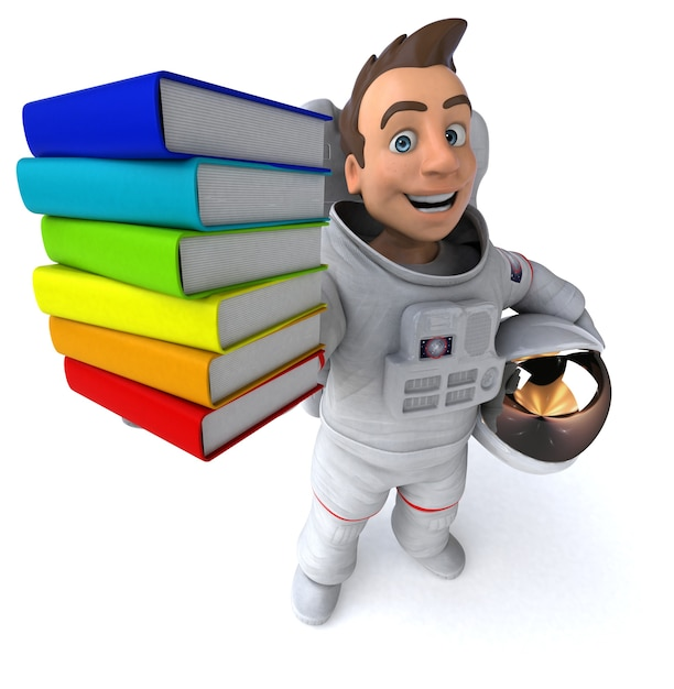 Illustration 3d Amusante De L'astronaute Photo Premium