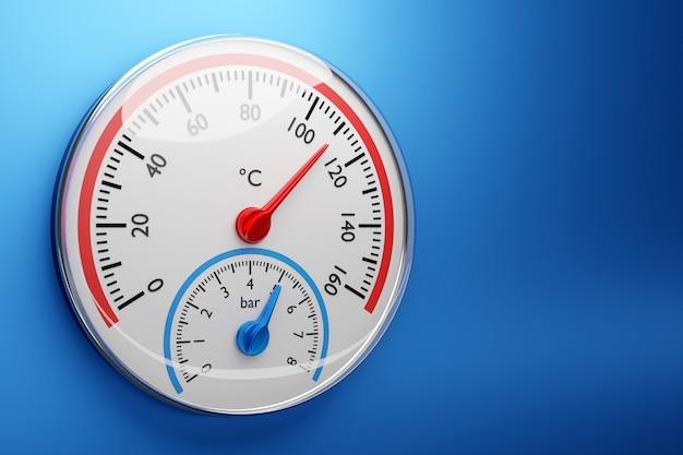 Illustration 3d D'un Baromètre Rond Sur Fond Bleu Isolé Photo Premium