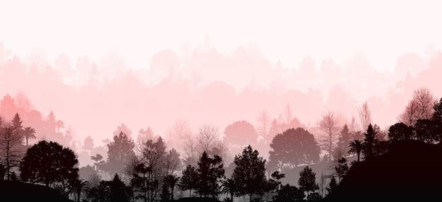 Illustration 3d De Belles Vues Panoramiques Sur Les Montagnes Et Les Arbres A Une Phase De Réveil Profond Des Yeux Montagnes Dans Le Brouillard Avec Paysage De Montagne Forestière Photo Premium