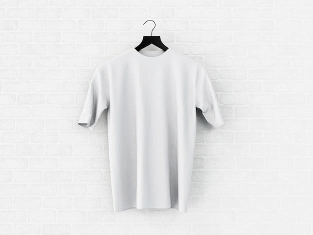 Illustration 3d blanc t-shirt, maquette. Photo Premium