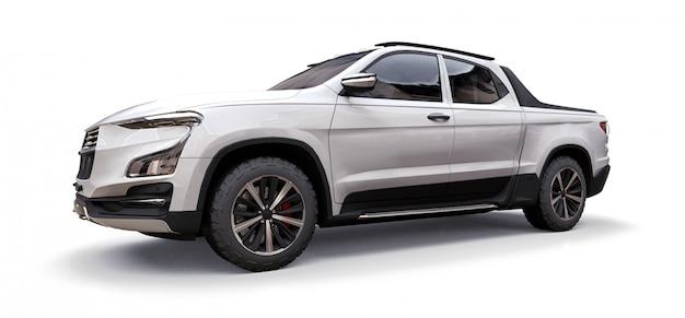 Illustration 3d d'une camionnette blanche concept cargo Photo Premium