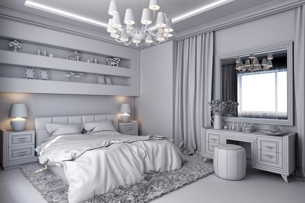 Illustration 3d d'une chambre blanche de style classique Photo Premium