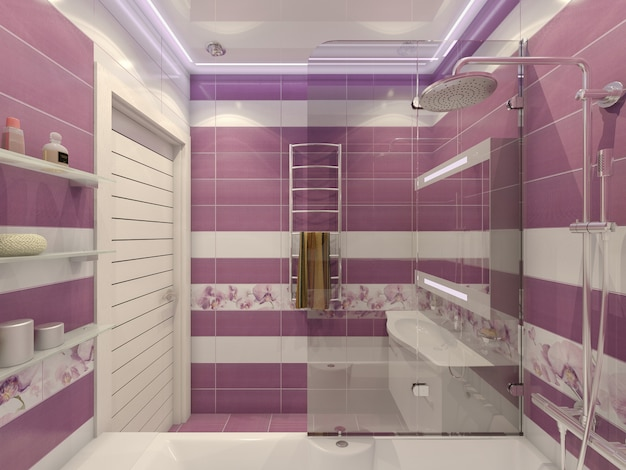 Illustration 3d de la conception d'une salle de bain sur violet Photo Premium