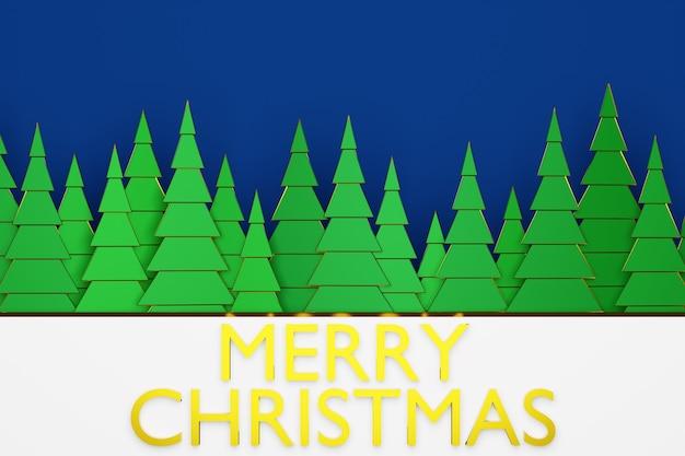 Illustration 3d De Conifères Verts Dans Une Forêt D'hiver Avec De Grandes Congères Et Lettrage Joyeux Noël. Arbres De Noël Dans Des Styles Origami Photo Premium