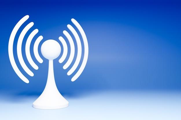 Illustration 3d D'une Connexion Cellulaire Wi-fi, 4g Et 5g Sur Fond Bleu. Icône Pour Téléphone Mobile Ou Appareil Intelligent. Photo Premium