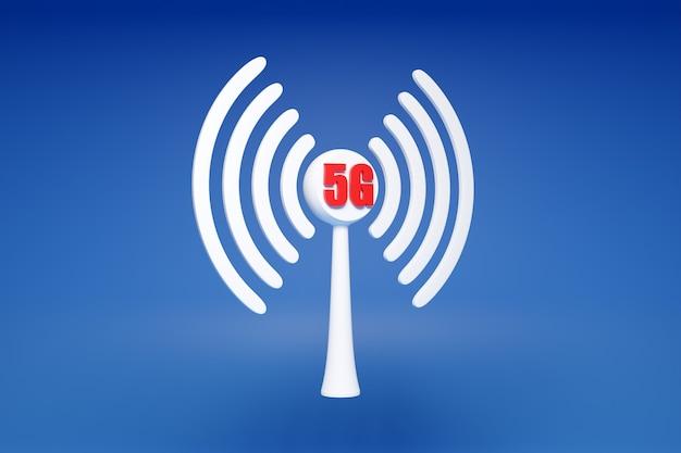 Illustration 3d D'une Connexion Cellulaire Wi-fi, 5g Sur Fond Bleu. Icône Pour Téléphone Mobile Ou Appareil Intelligent. Photo Premium