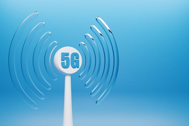 Illustration 3d D'une Connexion Cellulaire Wi-fi, 5g Sur Fond Bleu. Photo Premium
