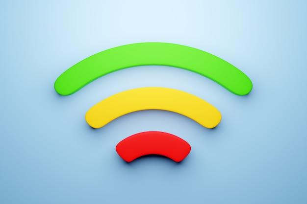 Illustration 3d D'une Connexion Cellulaire Wi-fi Sur Un Fond Bleu. Icône Pour Téléphone Mobile Ou Appareil Intelligent. Photo Premium