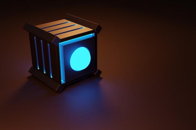 Illustration 3d D'un Cube Néon Avec Des Fenêtres Brillantes Dans Une Pièce Sombre. Photo Premium