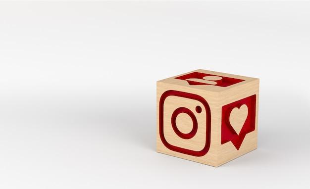 Illustration 3d, Cubes En Bois Avec Icônes Instagram Sculptées Photo Premium
