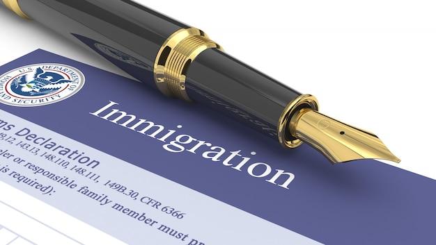 Illustration 3d de document d'immigration Photo Premium