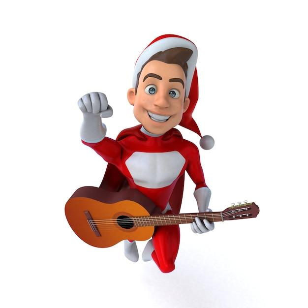 Illustration 3d Drôle D'un Super Père Noël Drôle Photo Premium