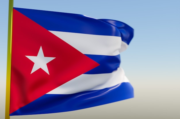 Illustration 3d Du Drapeau National De Cuba Photo Premium