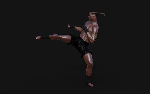 Illustration 3d entraînement sportif dans les arts martiaux, humain, avec tracé de détourage, kick-boxing, muscle man in dark. Photo Premium