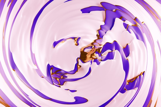 Illustration 3d D'un Fond Abstrait Violet Et Or Avec Des Cercles Scintillants Et Brillant Photo Premium