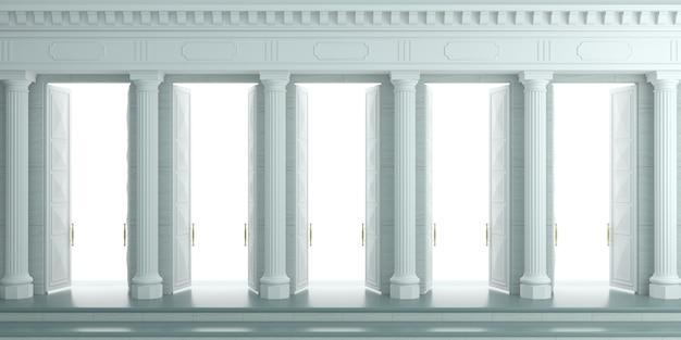 Illustration 3d fond avec mur classique avec colonnes blanches en pierre et doubles portes ouvertes. Photo Premium