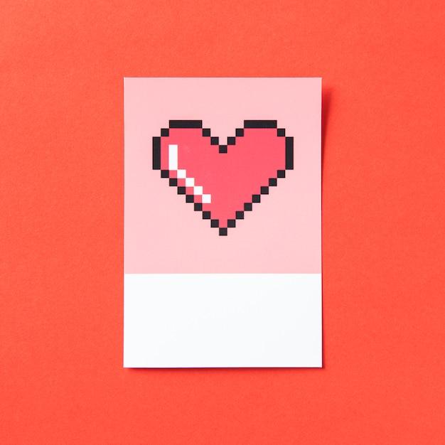 Illustration 3d en forme de cœur pixélisé Photo gratuit
