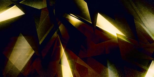 Illustration 3d Avec Formes Géométriques Nouveau Concept Technologique Et Mouvement Dynamique Démonstration De Force Prisme Numérique, Diamant, Cristal à Facettes. Photo Premium