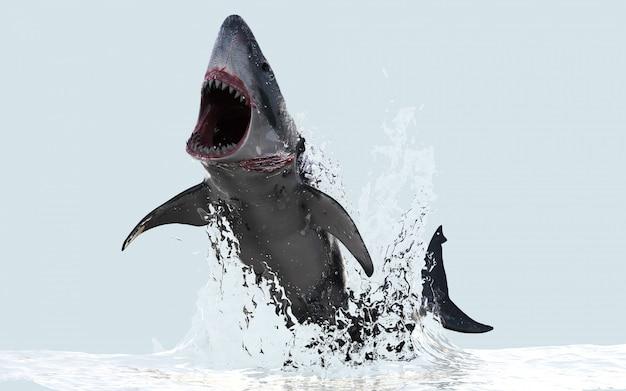 Illustration 3d Grand Requin Blanc Saute Hors De L'eau Avec Un Tracé De Détourage Photo Premium