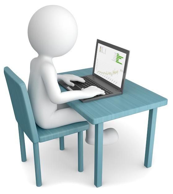 Illustration 3d d'un homme de race blanche travaillant à la maison sur un ordinateur Photo Premium