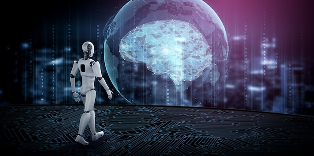 Illustration 3d Humanoïde Robot Avec Impatience Contre Les Toits De La Ville Photo Premium