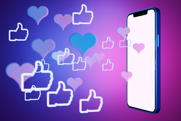 Illustration 3d Maquette D'un Smartphone Moderne Dans Un écran Blanc Avec Les Poings Avec Les Pouces Vers Le Haut Sur Un Fond Isolé Violet. Illustration Du Dialogue, Chat. Photo Premium