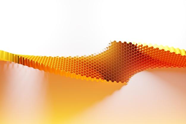 Illustration 3d D'un Nid D'abeille Monochrome Jaune En Nid D'abeille Pour Le Miel. Photo Premium