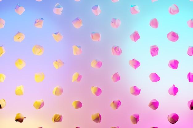 Illustration 3d De Rangées De Personnages Volants Inhabituels Sous Une Couleur Néon Bleu-rose. Motif De Forme. Fond De Géométrie Technologique Photo Premium