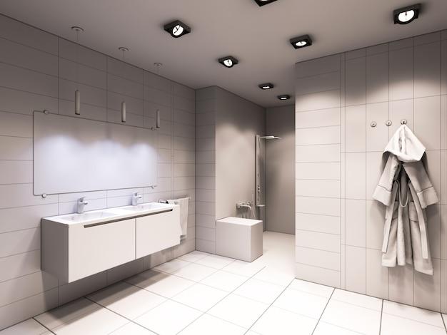 Illustration 3d de la salle de bain sans couleur ni texture Photo Premium