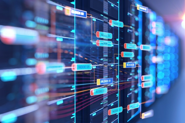 Illustration 3d de la salle des serveurs avec élément de conception de données de programmation de base de noeud. Photo Premium