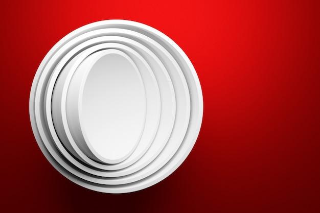 Illustration 3d D'une Scène D'un Cercle Sur Fond Rouge. Photo Premium