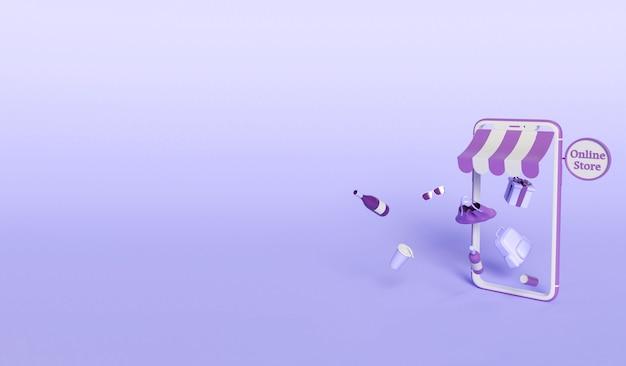 Illustration 3d. Smartphone Avec Des Produits Sortant De L'écran. Concept D'achat Et De Commerce électronique En Ligne. Photo gratuit