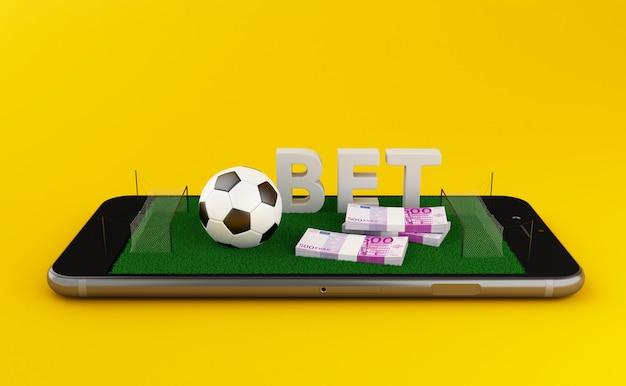 Illustration 3d smartphone avec terrain de football sur fond jaune. Photo Premium