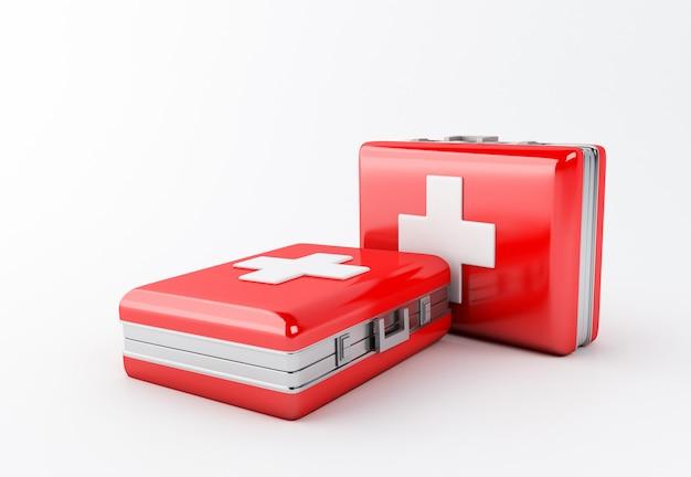 Illustration 3d trousse de secours sur fond blanc. concept de kit médical. Photo Premium