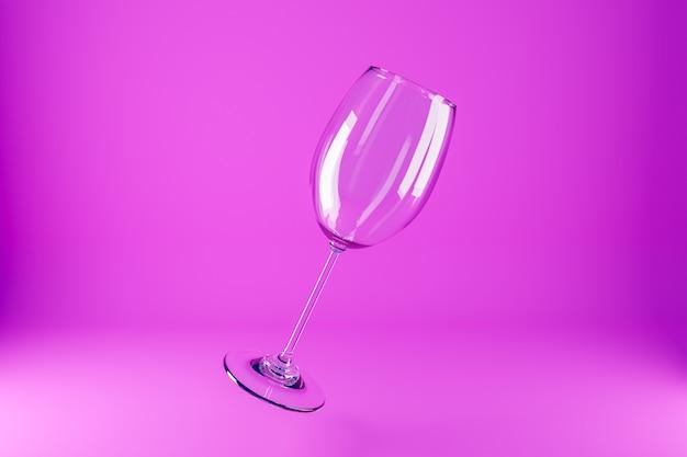 Illustration 3d De Verres à Vin. Verres à Vin Pour Alcool Volant Sur Fond Rose Photo Premium