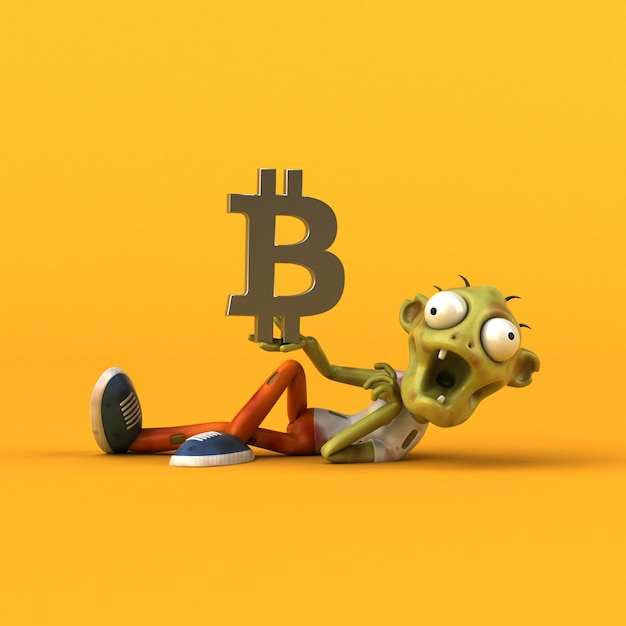 Illustration 3d De Zombie Et Bitcoin Photo Premium