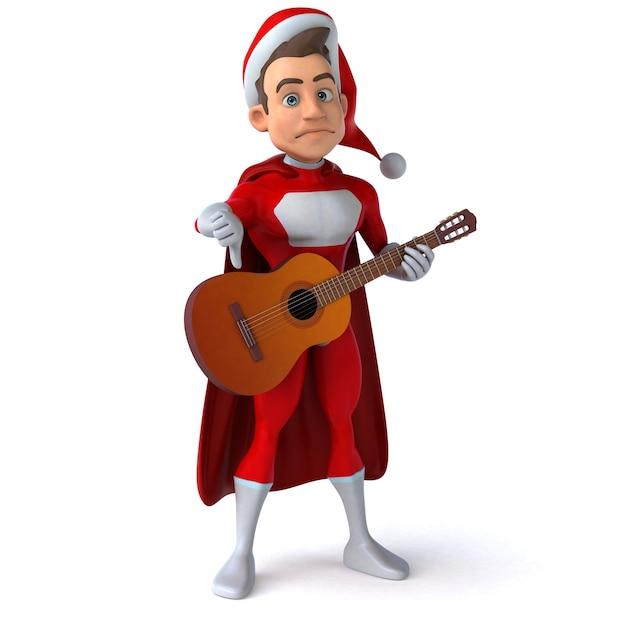 Illustration Amusante D'un Super Père Noël Amusant Photo Premium