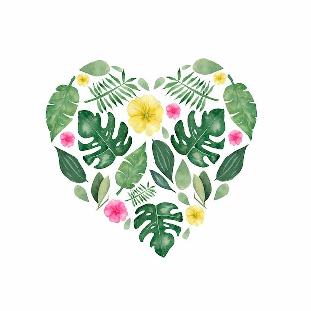 Illustration aquarelle de feuilles et de fleurs tropicales peintes à la main Photo Premium