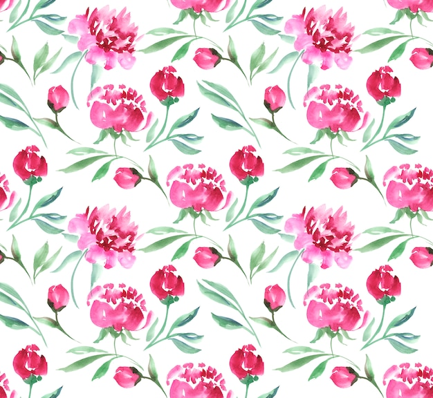 Illustration aquarelle fleur pivoine rose. motif de fond blanc sans couture. Photo Premium