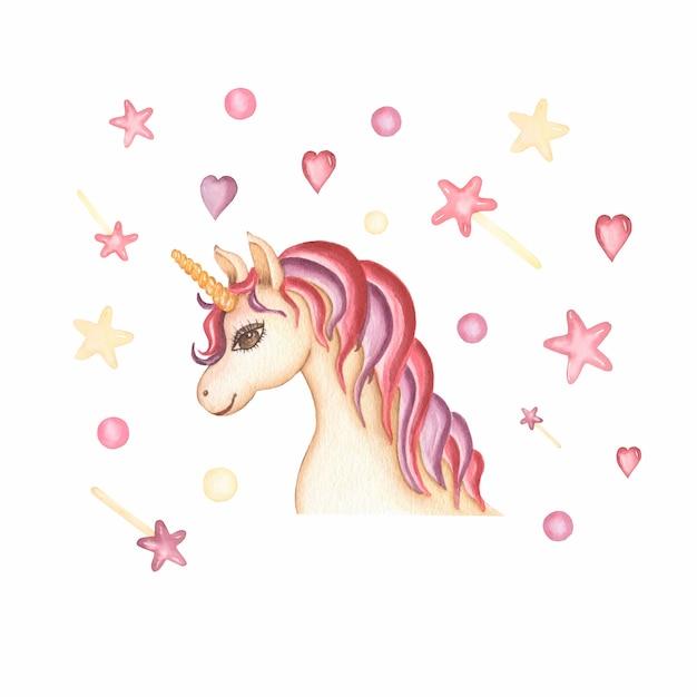Illustration de carte licorne dessiné main aquarelle avec coeur Photo Premium