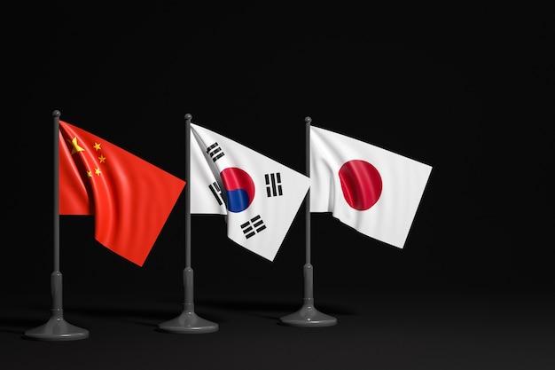 Illustration Des Drapeaux Nationaux De La Chine, De La Corée Du Sud Et Du Japon Sur Un Mât Métallique Photo Premium