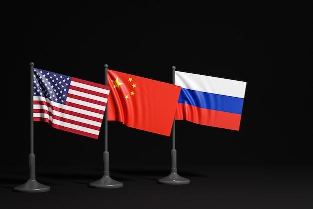 Illustration Des Drapeaux Nationaux Des Etats-unis, De La Russie Et De La Chine Sur Un Mât Métallique Photo Premium